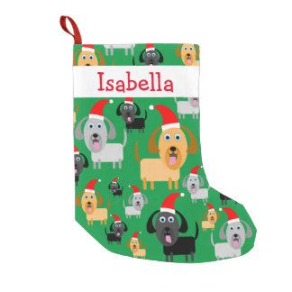 Personalized Fun Cute Dogs in Santa Hats Small Christmas Stocking