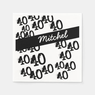 Personalized Funky Black White 40th Birthday Disposable Napkins