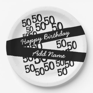 Personalized Funky Black White 50th Birthday Paper Plate