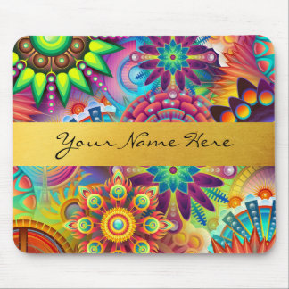 Personalized Funky Boho Floral Flame Mandalas Mouse Pad