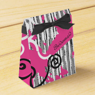 Personalized Funky Bridesmaid Wild with Pink Favour Box