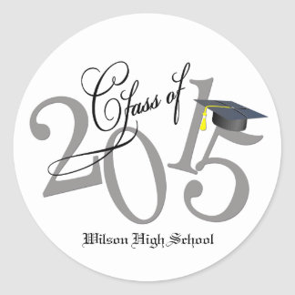 Personalized Funky Class of 2015 (gray and black) Classic Round Sticker