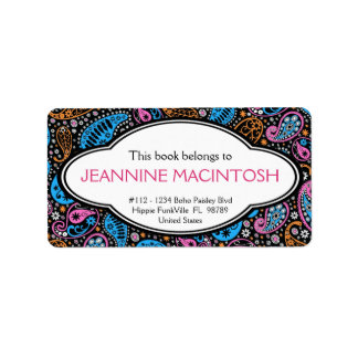 Personalized Funky Paisley Patterned Bookplate Label