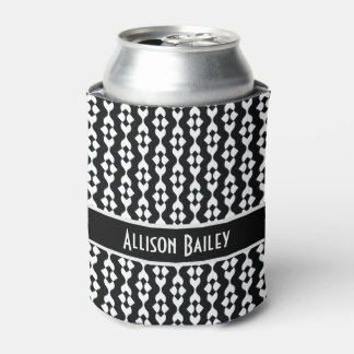 Personalized, FunkyBlack & White Pattern Can Cooler