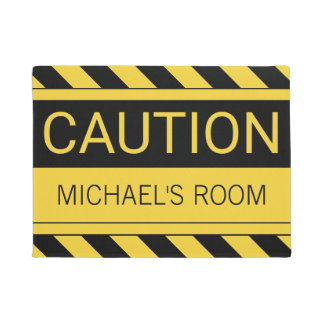 Personalized Funny Caution Bedroom Mat
