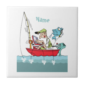 Personalized Funny Fishing Cartoon Tile