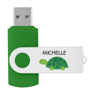 Personalized funny green turtle USB flash drive