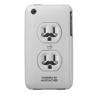 Personalized Funny Mustache Power Outlet iPhone 3 Case
