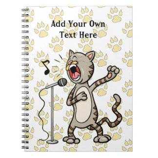 Personalized Funny Singing Cat Spiral Note Book