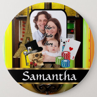 Personalized gambler 6 cm round badge