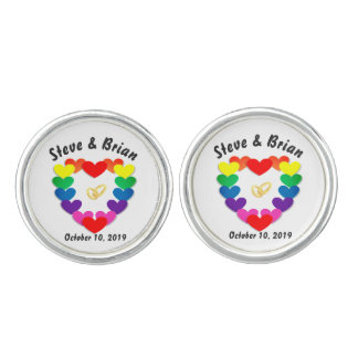 Personalized Gay Wedding Couple's Names & Date Cufflinks
