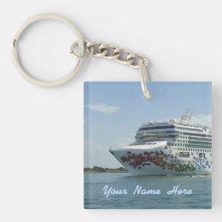 Personalized Gem Studded Bow Double-Sided Square Acrylic Key Ring