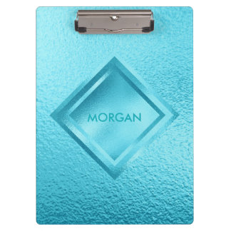 Personalized Geometric Blue Shiny  Clipboard