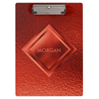 Personalized Geometric Red Shiny Metalic Clipboard