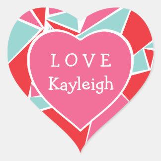 Personalized Geometric Valentine's Day Stickers