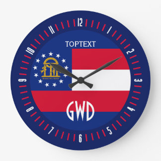 Personalized Georgia State Flag Design on Large Clock