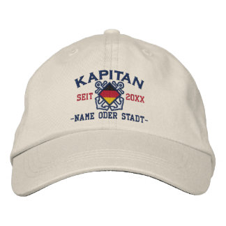 Personalized German Sea Captain Nautical Embroidered Hat