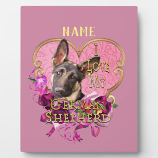 Personalized German Shepherd in Pink Heart Plaque