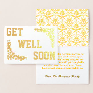 Personalized Get Well Soon Gold Foil Card
