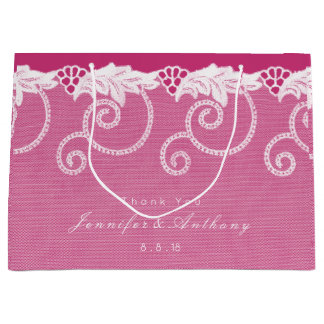 Personalized Gift Bag Pink Rose Royal Lace