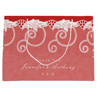 Personalized Gift Bag Red Wine White Royal Lace