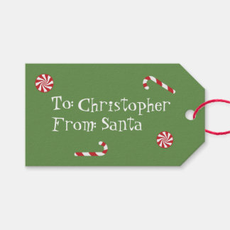 Personalized Gift From Santa Christmas Candy Green Gift Tags