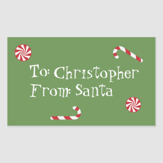 Personalized Gift From Santa Christmas Candy Green Rectangular Sticker