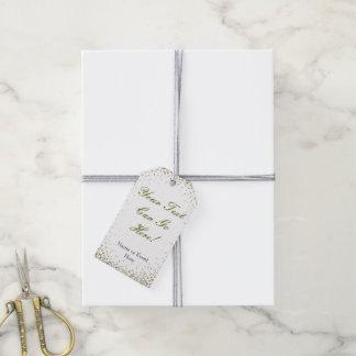 Personalized Gift Tag Gold Confetti