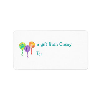 Personalized gift tag label -- balloon address label