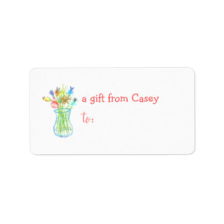 Personalized gift tag label -- flower theme address label