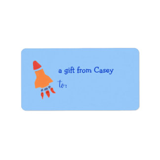 Personalized gift tag label -- rocket theme address label