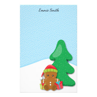 Personalized Gingerbread Baby and Snow Stationery