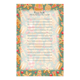 Personalized Gingerbread Man Santa Snowman Stationery