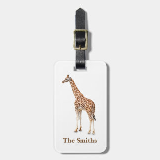 Personalized Giraffe Print Luggage Tag