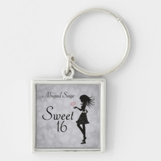 Personalized Girl and Hearts Sweet 16 Keychain