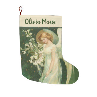 Personalized Girl Angel with flowers Large Christmas Stocking