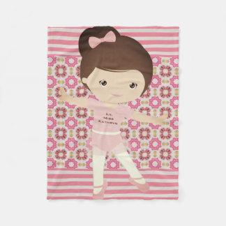 Personalized Girl Ballerina Fleece Blanket
