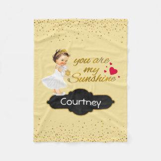 Personalized Girl Nursery | Gold Sunshine Princess Fleece Blanket
