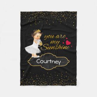 Personalized Girl Princess | Gold Sunshine Nursery Fleece Blanket