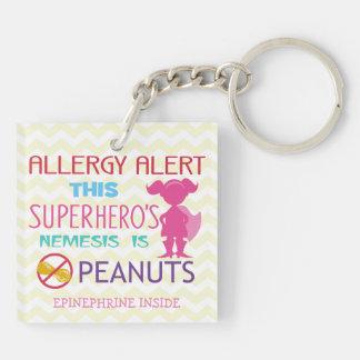 Personalized Girl Superhero Peanut Allergy Kids Double-Sided Square Acrylic Key Ring