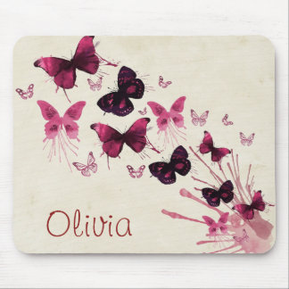 Personalized Girlie Butterflies Mouse Pad