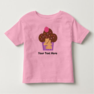 Personalized Girls 4th Birthday Cupcake Toddler T-Shirt
