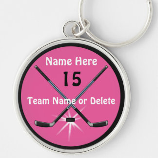 Personalized Girls Hockey Gifts Your Text, Colors Key Ring
