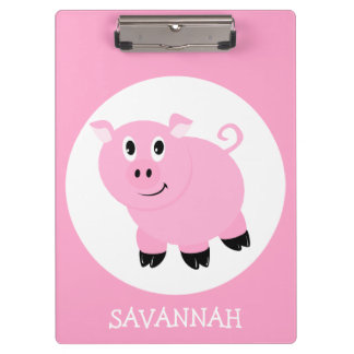 Personalized Girls Pink Cartoon Pig Clipboard