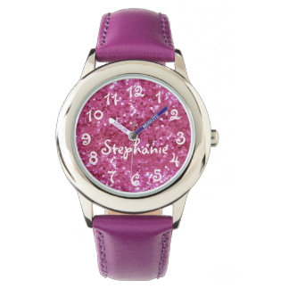 Personalized Girl's Pink Glitter-Look Watch
