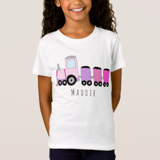 Personalized Girl's Pink Locomotive Train Name T-Shirt