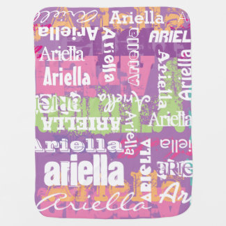 Personalized Girl's Purple Pink Subway Art Baby Blanket