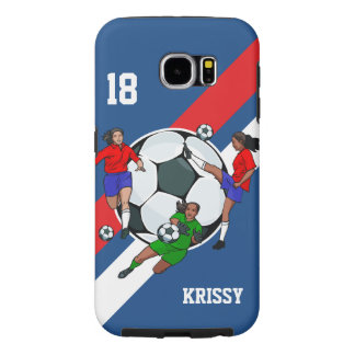 Personalized Girls Soccer Designer Samsung Galaxy S6 Cases