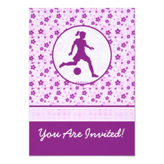 Personalized Girl's Soccer Purple Heart Floral 13 Cm X 18 Cm Invitation Card