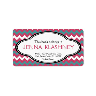 Personalized Girly Chevron Zig Zag Bookplate Address Label